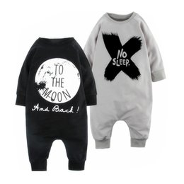 Wholesale Stylish Boys Clothes - Kids Autumn Winter Boys Girls Long Sleeve Rompers Children Clothes INS Stylish Jumpsuit Cotton Warm Black Gray Letter New Arrival for Baby