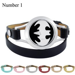 Wholesale Aroma Wedding - Magnet Steel Batman 25mm Black Genuine Leather Aroma Locket Stainless Steel Bangle Essential Oils Diffuser Locket Leather Bracelet