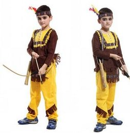 Wholesale Carnival Costumes For Kids - Hunter's Sets Clothes Carnival Party Indian Prince Hunter Halloween Costumes For Kids Children Photography Clothing Cosplay Asia A5681