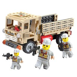 Wholesale Military Toys For Kids - Delo toys Plastic building blocks self-assembly toys for children military truck play set kids birthday gift without package box