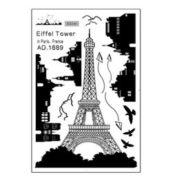 Wholesale Paris Wall Decals - New Black PVC Paris Eiffel Tower Bird Fly Wall Sticker DIY Art Decal Home Bathroom Room Decoration Hot