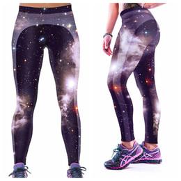 Wholesale High Leggings - Sport Yoga Pants 3D Digital Printing Running Trousers Women High Waist Elastic Slim Leggings Body Sculpting Black Skyscape Galaxy LNASlgs