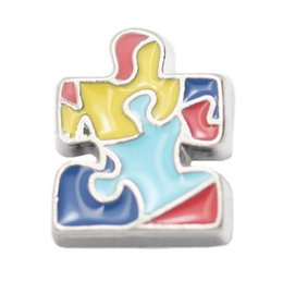 Wholesale Tangram Jigsaws - 20pcs lot tangram charms for locket,floating charms, jigsaw puzzle charms
