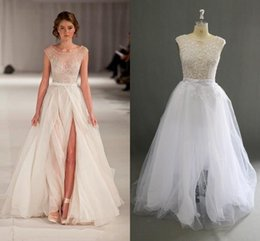 Wholesale Cheap Puffy Skirts - Real Images Wedding Dresses Scoop Sheer Neck Front Split Puffy Capped Beaded Cheap Wedding Dress See Through Sexy Beach Bridal Gowns