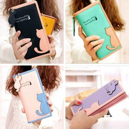 Wholesale Cute Wallets For Girls - cute wallet for teen girls Fashion Women Lady Cute Cat Clutch Long Purse Wallet Card Holder Mobile C00833