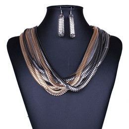 Wholesale Layer Metal Earrings - Wholesale 2016 Summer sytle retro metal necklace Multi-layer winding wide version texture snake chain necklace earrings suit