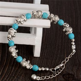 Wholesale Turquoise Elephant Bead - Tturquoise elephant charm bracelets turquoise Beads bracelets fashion jewelry green retro bracelet silver plated TB0003