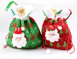 Wholesale Christams Decorations - 20*24cm Christams Decoration Gift Bags Non-woven Festival Party Ornaments Santa Claus Handbag Red Color Drop Shipping 300pcs lot