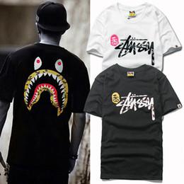 Wholesale Worn Hat - New hot hats, tide brand leisure sports, street men's wear, shark printing T-shirt, men's casual T-shirt, short sleeve T-shirt