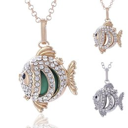 Wholesale Brass Chimes - Chimes Harmony Ball Angel ball in Pendants fish Chime Harmony Balls Pendant 2 Colors Brass Metal Pregnancy Chain Necklaces