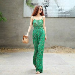 Wholesale Ladies Floral Overalls - Wholesale- 2016 summer chiffon women jumpsuits overalls beach wear bodysuit wide leg long pants flower printed floral lady rompers Green