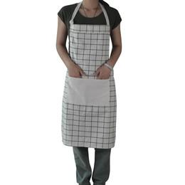 Wholesale Canvas Kitchen Aprons - Cotton Linen Canvas Apron with Convenient Pocket Durable Stripe Kitchen and Cooking Apron for Chef Apron for Cooking Grill and Baking (White
