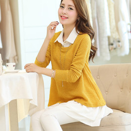 Wholesale Women Two Piece Formal Set - Wholesale- Spring and autumn clothing plus size shirt collar faux two piece set sweater pullover sweater shirt twinset female