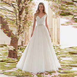 Wholesale Empire Waist Organza Dress - Cheap Bridal Gown with Crystal Beading V Neck Empire Waist Organza A-line Wedding Dresses 2016 Appliques