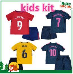 Wholesale Custom Kids Shirts - 17 18 kids kit KOKE boy child GABI jersey GRIEZMANN Fernando HOME away 3rd RED F TORRES AWAY GODIN CUSTOM 2017 2018 CARRASCO SAUL shirts