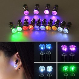 Wholesale Dj Plates - Charm LED Earring Light Up Crown Glowing Crystal Stainless Ear Drop Ear Stud Earring Jewelry for DJ Dance Party Bar Christmas gift