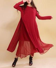 Wholesale Casual Linen Maxi Dresses - Women Dress Solid Color Red Color Plus Size 2XL Loose Cotton Linen Vintage Dress Long Sleeve Two Piece O Neck Autumn Maxi Dress