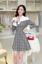 Wholesale Korea Fashion Winter Dress - New Fashion Women Dress Winter Slim Patchwork Elegant Full Sleeve Casual Dress Korea Style Clothes Free Shipping W3991