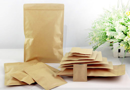 Wholesale Wholesale Food Powders - nice quality Kraft paper bag flat bottom packaging bag leisure food packaging snack bag tea bag nuts bag powder bag free shipping 100pcs lot