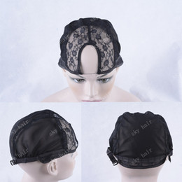 Wholesale Cheap Hairnets - U Part Wig Caps For Making Wigs Hairnets Adjustable Straps High Quality Black Elastic Fishnet Density Adjustable Easy To Use Cheap Price