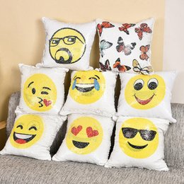 Wholesale Cushion Covers Round - Sequin Emoji Pillow Case 40*40cm Expression Mermaid Waist Cushion Cover Color Change Pillowcase Home Decor IB553