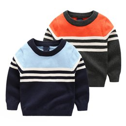 Wholesale 2016 quality baby boys striped Pullover England style comfort kids sweaters children Autumn winter Screw o neck soft cotton knitwear orange