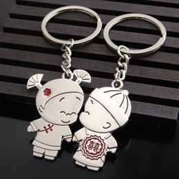 Wholesale Chinese Mans Dolls - Chinese Wedding Couple Dolls Style Lovers Keychain - Silver + Red (Pair)
