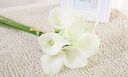 Wholesale Dark Blue Artificial Flowers - DHL Free wholesale Real Touch Decorative Artificial Flowers Calla lily Wedding Bouquet Artificial Wedding Bouquet Party Supplies 20 colors