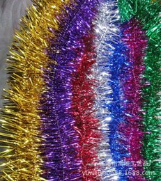 Wholesale Thick Silver Ribbon - 2016 2M*7cm Christmas Color Bar Colorful Ribbon tinsel Stage Decoration Ribbon Wedding Decoration Party Decorations