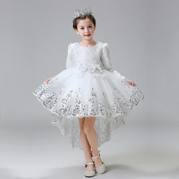 pictures kids pageant dresses 2018 - Princess Hollow Long Sleeves Flower Girls Dresses Cotton Embroidery with Sequins Ball Gown Kids Formal Wear Girls Pageant Dresses 2016