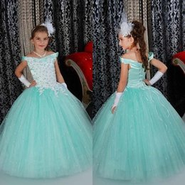 Wholesale Royal Blue Diamond Dresses - Stunning 2017 Girls Pageant Dresses Off The Shoulder Neckline Diamonds Beaded Lace Appliqued Lace-up Back Mint Tulle Girls Ball Gown