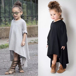 Wholesale Round Neck Long Sleeve Dresses - Baby Girl Autumn Dress Max Batwing Loose Asymmetric Long Sleeve T-Shirts For Kids Costume Casual Black and Gray Free Shipping TSG18