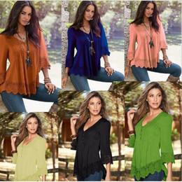 Wholesale V Neck Big Shirt Women - 6 Colors Big Children Girls Ruffled T-Shirt Women Long Elastic Sleeve Loose Blouse Tops Women T-Shirt Chiffon Clothing CCA7485 20pcs