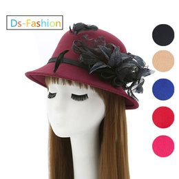 Wholesale Hats For Dresses - Designer Elegant Fedoras Hats For Women Kentucky Derby Organza Hat Ladies Dress Black Church Hat Honey Formal Wedding Feather Flower Cap