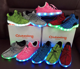 Wholesale led top for girls - Free Shipping Breathable Children Shoes Boys Girls LED Sneakers Sports B Running Shoes For Kids Top Quality Brand New