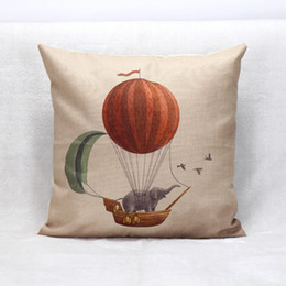 Wholesale Balloons Romantic - Wholesale- Colorful Feathers Pillowcases Personalised Elephant Balloon Pillow Cases Throw Home Decorative Linen Pillow case Romantic W1