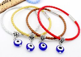 Wholesale Magnetic Bracelet Stainless Steel - 100pcs Fashion Unisex Braid Evil Eye Cord Leather Magnetic Buckle Wristband Bracelets 19cm