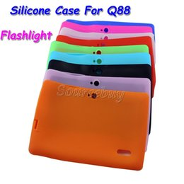 Wholesale Tablet Flash Light - Colorful Silicone Case Cover For Q8 Q88 With Flash Light Flashlight A33 Quad-core Android 4.4 Tablet PC 7 Inch Protective Shell DHL