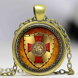Wholesale Knights Pendant - 1pcs The Knights Templar pendant jewelry Glass Cabochon Necklace
