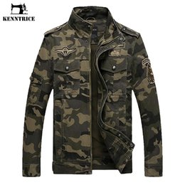 Wholesale Military Style Black Jacket Men - KENNTRICE Military Tactical Jacket Style Militar Clothing Jeans Male Soldier Camo Jacket Men's US Army Camouflage Jacket Coats