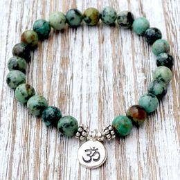 Wholesale wholesale mala prayer beads - SN1035 Genuine African Turquoise Wrist Mala Beads Chakra Bracelet Yoga Bracelet Buddhist Prayer Healing Depression Anxiety Crystals
