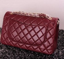 Wholesale Embroidery Floral Top - 1113 Bordeaux Lambskin Caviar Bag Top Real leather Leather 30CM Double Flap Bag Women's Genuine Leather Ladies Shoulder Bag