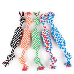 Wholesale Wholesale Roping Ropes - Dog Rope Fun Pet Chew Knot Toy Cotton Stripe Rope Dog Toy Durable High Quality Dog Accessories Drop Shipping