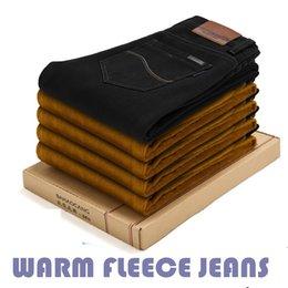 Wholesale Men Jeans Thickening - Wholesale-2016 Winter New men Jeans Solid Warm Thicken Pants 2 colors true jeans men Plus Size28-42