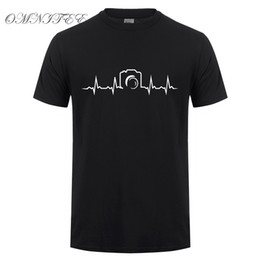 Wholesale Photographer Camera - Heartbeat of Camera T Shirts Men New Summer Short Sleeve Cotton Fashion Photographer T-shirts Tee Tops