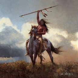 Wholesale Portraits Paintings - Framed native american warriors by Howard Terpning,Genuine Handpainted Portrait Art Oil Painting On Canvas,Multi sizes Free Shipping