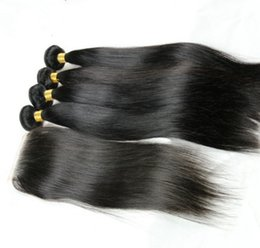 Wholesale Double Star Parts - Beautiful star Ali Queen Peruvian virgin hair natural straight 4*4 middle part lace closure with 3pcs hair weave unprocessed natural color