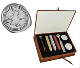 Wholesale Witch Box - Custom Picture Wedding Invitation Witch Broom Wax Seal Stamp Kit Gift Box Set