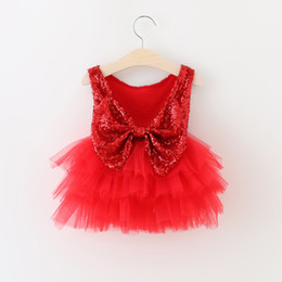 Wholesale Summer Cotton Lace Dresses Gauze - New Hot Sell Christmas Dress Summer Girls Dress Girls Sequins Tutu Big Bow Princess Party Dress Red Tulle Gauze Dresses For Girl A5819