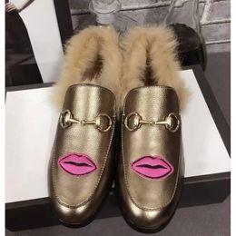 Wholesale Men Winter Loafers - Fashion Luxury Loafer Shoes for Men BIRKENSTOCK Slipper Princetown Pelle Agnello Hot Sale Woll Embroid Flower Applique